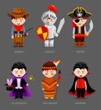 Cowboy, cavaliere, pirata, indiano rosso, vampiro, illusionista royalty illustrazione gratis