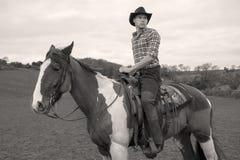 Cowboy a cavallo, equitazione con la camicia striata, campo, lato della collina ed alberi nel fondo Immagine Stock