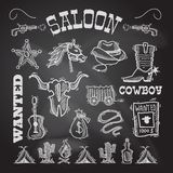 Cowboy chalkboard set Royalty Free Stock Photos