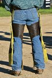 Cowboy in chaps and boots. Cowboys in chaps, boots, and jeans before a roundup and branding of beef cattle royalty free stock images