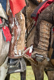Cowboy chaps in Ecuador. June 10, 2017 Toacazo, Ecuador: legs of local cowboys equipped for rodeo with chaps and spurs stock images