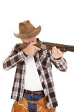 Cowboy chaps gun aim eye open Stock Images