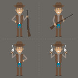 Cowboy character holds weapon Royalty Free Stock Images