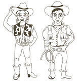 Cowboy characters outlined Stock Image