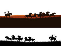 Cowboy chasing the herd horses vector silhouette Stock Photography