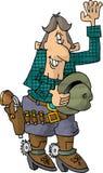 Cowboy che fluttua con il suo cappello fuori Immagine Stock Libera da Diritti
