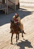 Cowboy che monta il suo cavallo Fotografie Stock