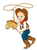 Cowboy child with lasso and toy horse. Vector happy boy illustration Royalty Free Stock Photography