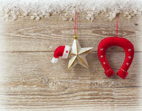 Cowboy christmas background with traditional decor toys Stock Photography