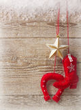 Cowboy christmas background on wood texture Stock Image