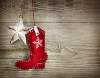 Cowboy christmas background on wood texture Royalty Free Stock Image