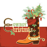 Cowboy christmas boot. Christmas cowboy boot.Vector western illustration with text Royalty Free Stock Photo