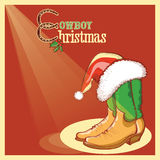 Cowboy christmas card with american shoes Royalty Free Stock Images