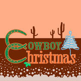 Cowboy Christmas card background with text Stock Images