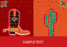 Cowboy christmas card with boot and cactus Royalty Free Stock Photography