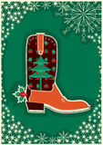 Cowboy christmas card with boot decoration Royalty Free Stock Photography