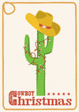 Cowboy christmas  card with cactus and western hat. Royalty Free Stock Photo