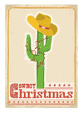 Cowboy christmas  card with cactus and western hat on old card Royalty Free Stock Photo