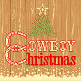 Cowboy Christmas card with decor rope tree Royalty Free Stock Image