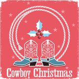 Cowboy christmas card red background with western boots and lass Stock Photography
