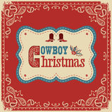 Cowboy christmas card with text on board Royalty Free Stock Photography
