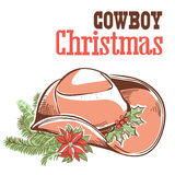 Cowboy christmas card with text isolated on white Stock Image