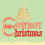 Cowboy Christmas card with text and rope tree Stock Photo