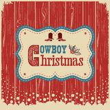 Cowboy christmas card with text on wood board Stock Photography