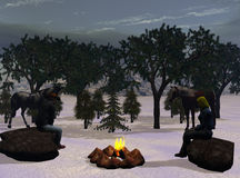 Cowboy Christmas Eve. Computer generated art of a cowboy and his wife camping out on Christmas Eve Stock Photos