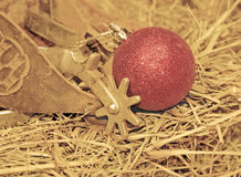 Cowboy Christmas - old spurs on hay Royalty Free Stock Photos