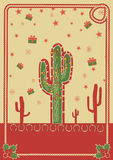 Cowboy christmas poster with cactus and rope Royalty Free Stock Image