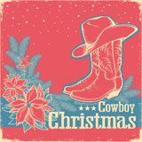Cowboy Christmas retro card with american western shoe and cowbo Royalty Free Stock Photo