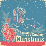 Cowboy Christmas retro card with american western shoes and cowb Royalty Free Stock Photos