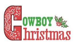 Cowboy christmas text Stock Photography