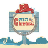 Cowboy christmas text on wood board.Vector isolated on white Royalty Free Stock Image
