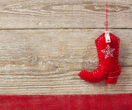 Cowboy christmas toy on wood background Stock Photography