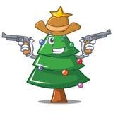 Cowboy Christmas tree character cartoon. Vector illustration Stock Images