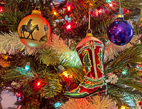 Cowboy Christmas. Western Christmas ecorations for the cowboy or cowgirl in the house Royalty Free Stock Photo