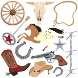Cowboy Clip Art Elements, Isolated On White Stock Images