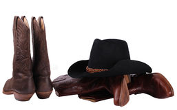 Cowboy clothes.American boots and black hat Stock Photo