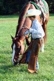 Cowboy con il cavallo Fotografia Stock