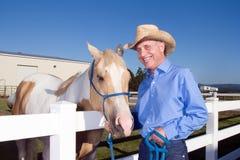 Cowboy con il cavallo - orizzontale Immagini Stock