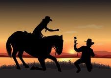 Cowboy con il fiore Immagine Stock