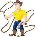 Cowboy con il lazo e revolver Fotografie Stock
