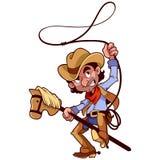 Cowboy con il lazo su un bastone-cavallo Fotografia Stock
