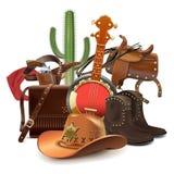 Cowboy Concept di vettore con il banjo illustrazione vettoriale