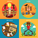 Cowboy Concept Set vektor illustrationer