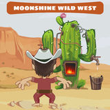 Cowboy cook a moonshine of cactus in the wild West vector illustration
