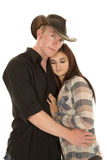 Cowboy couple he looks her eyes closed Royalty Free Stock Photos