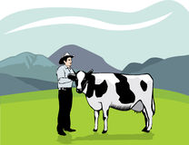 Cowboy and cow Stock Images